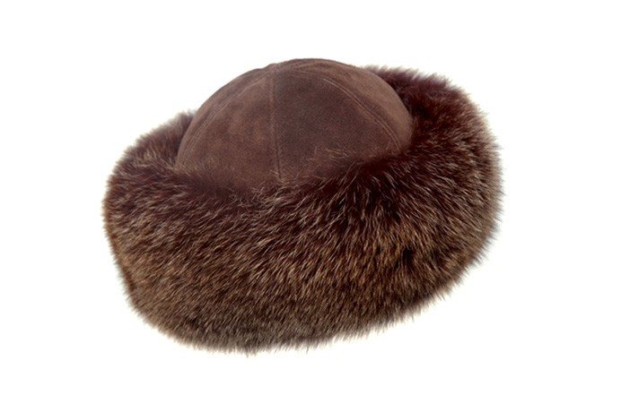 FUR HAT WITH SUEDE CROWN